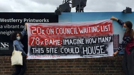 Banner protest at Isle of Dogs Westferry luxury housing scheme. Picture: London Renters Union