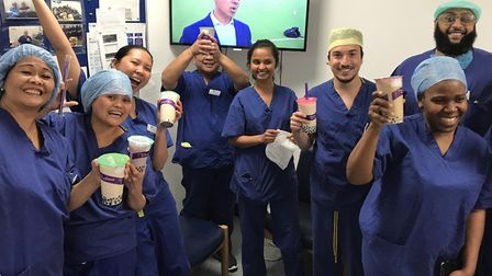 Jubilant staff at 'London Indy' hospital in Stepney Green when they scored high CQC rating in 2019.