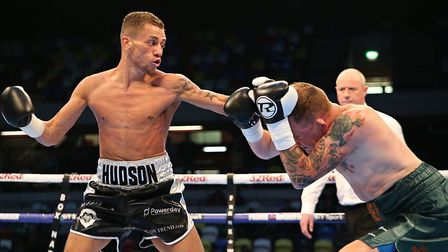Lucien Reid on the attack (pic Natalie Mayhew/Butterfly Boxing)