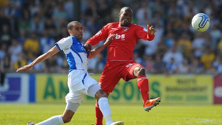 Bristol Rovers' Danny Senda and Charlton Athletic's Kyel Reid during the npower Football League One