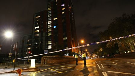Police cordon at the junction of Chrisp Street and East India Dock Road, Poplar after a toddler was
