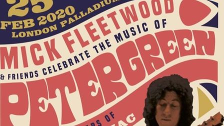 Mick Fleetwood poster for tribute concert in February 2020 to Peter Green, who has since died aged 7