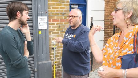 Cllr Dan Tomlinson face to face with Roman Road traffic ban protesters. Picture: Mike Brooke