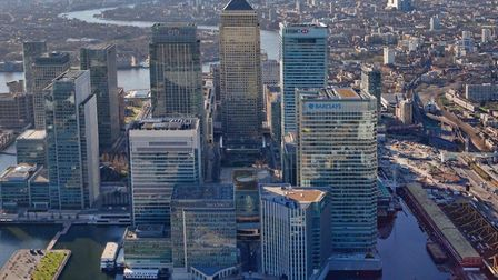 Canary Wharf and The City in shadow of Brexit without EU deal on financial regulations. Picture: CWG