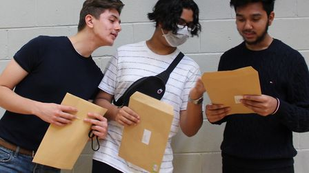 Pals sharing their A-Level news at George Green's Secondary... Kristiano Loshi, Ahmad Kamaly and Ani