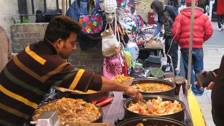 Part of Brick Lane getting pedestrianised to create outdoor dining piazza to boost trade. Picture: M