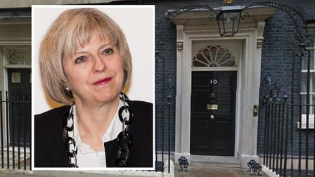 Theresa May... hoax package adressed to her at 10, Downing Street by Doyle. Picture: Google and (ins