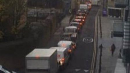 Traffic queues built up to get back onto The Highway when bus gate began in Wapping. Picture: Andrew
