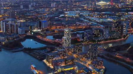 Aerial shot... massive Isle of Dogs housing projects by developers like Ballymore. Picture: Jason Ha