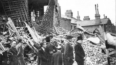 Winston Churchill visits east London the morning after South Hallsville school tragedy at Canning To