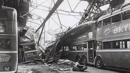 East Ham trolleybus depot wrecked in September 1940 in same air-raid that hits South Hallsville Scho