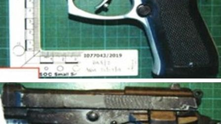Semi-automatics seized in armed police operation in east London. Picture: Met Police