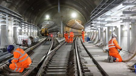 Finishing touches at Whitechapel where Crossrail splits into two... one branch to Stratford, the oth