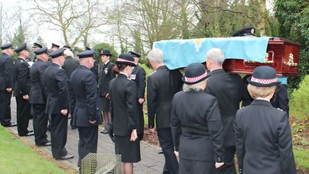 Firefighters formed a Guard of Honour at the funeral of Alan Gray. Picture: CAMBS FIRE AND RESCUE SE