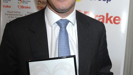 Steve Barclay with his Road Safety Parliamentarian of the Year Award.