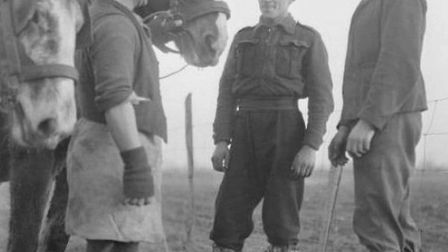 German POWs at work at an English farm during the Second World War