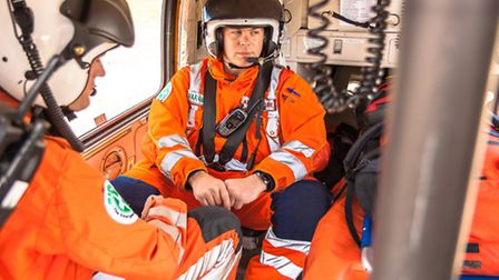 Magpas team in helicopter
