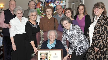 Mrs E Bliss, 100 years old of Lyncroft Care Home Wisbech.