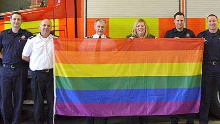 A RAINBOW flag is flying outside Wisbech fire station for the first time to mark Lesbian Gay Bisexua
