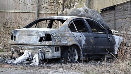 Burnt out car at the rear of the Green Welly car park Chatteris.