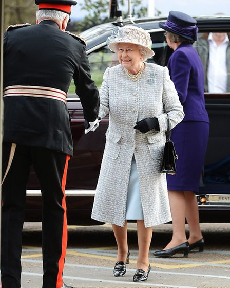 On The Queen's arrival at the Queen Elizabeth Hopspital in King's Lynn, Her Majesty was greeted by T