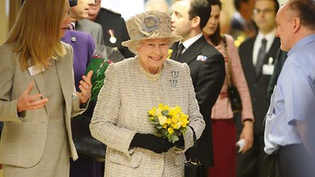 The Queen was introduced to staff and hospital volunteers by chief executive Patricia Wright. Pictur