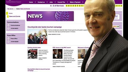 The new look for Fenland District Council's news page. Inset: Cllr John Clark.