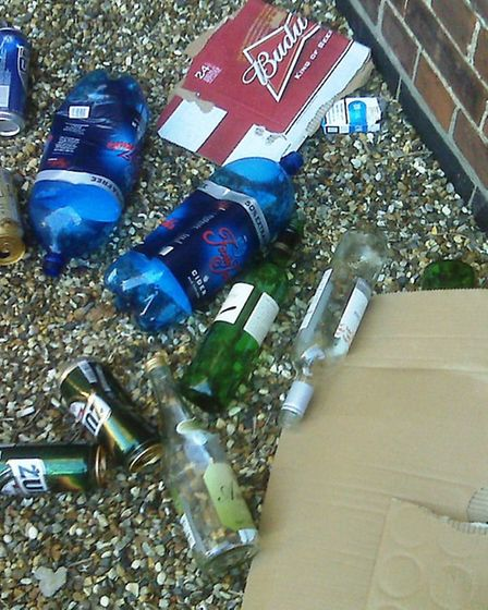 Empty alcohol containers left by street drinkers in Wisbech.