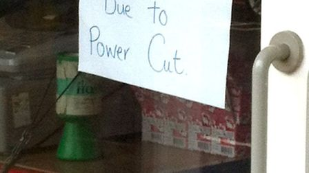 Power cut in Ely.Sign inside Thing-me-Bobs