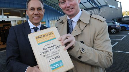 Minister for Climate Change Gregory Barker officially opens the Ridgeons Green Light Centre of Excel
