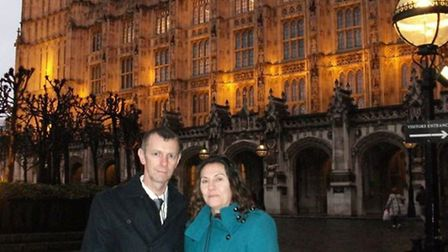 Tina Butcher and Steve Green outside the Houses of Parliament last night.