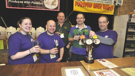 Ely Winter Beer Festival at The Maltings, some of the team (l-r) Alix Courtney, Adam Farrow, Mat Wil