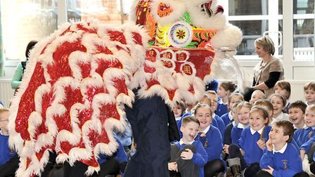 Lion Dancing with Chinese troupe at St Peter's Junior School, Wisbech.