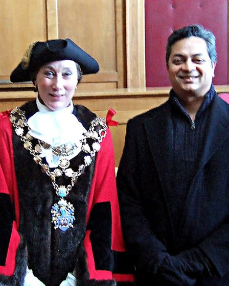 Film director Arbind Ray during a recent visit to the courthouse, Wisbech, with town mayor Councillo