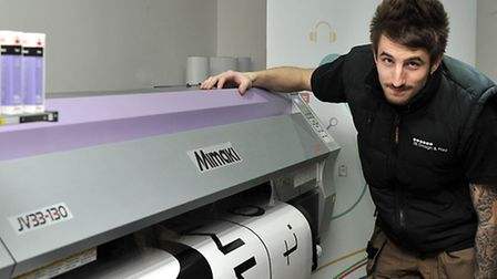 3B Design and Print Open day at Unit 2, Norman Business Park, March, Dan Handley working a print mac