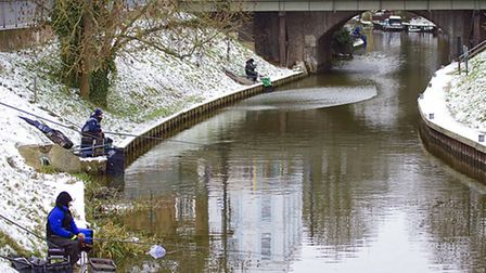Anglers on the banks of the Old River Nene. Picture: PAT RINGHAM