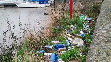 Discarded beer cans at a litter hotspot opposite The Boathouse Business Centre, in Wisbech.