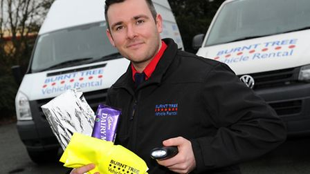 Daniel Callaghan with Burnt Tree's Winter Safety Pack