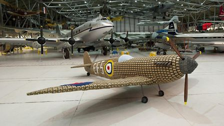 The Spitfire sculpture made from over 6,000 egg boxes at IWM Duxford