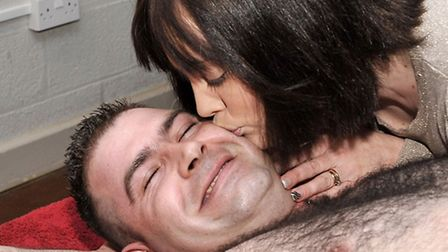 Mark Cross' third charity darts day and charity waxing. Mark's friend Roy Wojtowych had his chest an