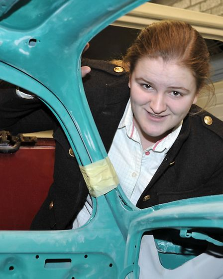 College of West Anglia, Isle campus motor vehicle department open day. Level 2 student Laura Wakefie