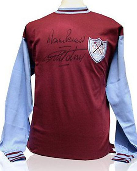 The signed West Ham shirt which will be auctioned at the charity darts event.