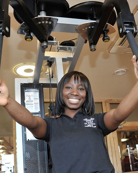 Tydd St Giles leisure opening day. Yaba Mumford the leisure centre's personal trainer.