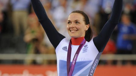 Victoria Pendleton celebrates winning gold in the keirin at the London 2012 Olympics. Picture by www