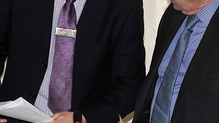 Ian Hunt (left) with planning committee chairman Councillor Phil Hatton at the decision making commi