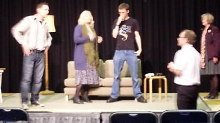 The Anglian Players rehearsing for their recent performance of Reality Check in March Town Hall