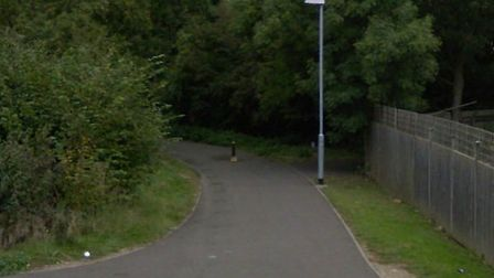 The foothpath between Downham Road and Wissey Way