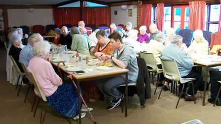 Ashwell Court residents tuck into their fish and chips