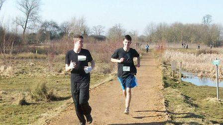 Cadet John Goude and Corporal Josh Garner tackle the course