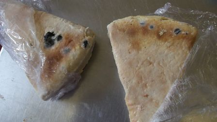 Examples of mouldy food found at the hotel